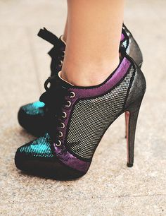 Louboutin high heeled boots teal and purple #shoes #fashion #style