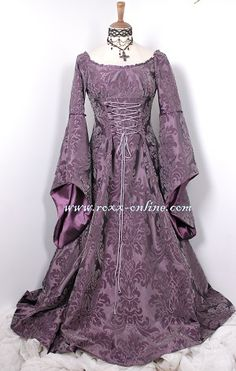 Gowns Pagan Wicca Witch:  Purple Flock Medieval Gown. Bodice with lacing. Fully lined with purple taffeta.