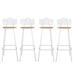 Set of Four Modern Kitchen Stools W/ Maple Seats C1960s