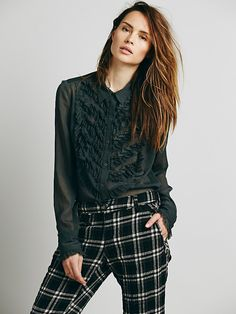 Free People Ruffle Bib Buttondown at Free People Clothing Boutique