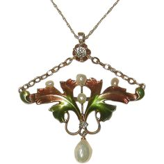 Lovely and graceful Art Nouveau 14k yellow gold Diamond, Pearl and Enamel lavalier/necklace. Pendant is not marked, but tested with jewelers acid and