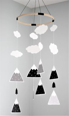 This baby mobile will instantly transform any standard nursery into a modern and fun one. Add some of our other mountain or tree items and get that Scandinavian look that is so trendy right now! The mountain mobile is made with only the best cardstock (70-110lbs): lining and acid