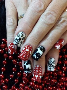 Black red and white christmas jumper nail art