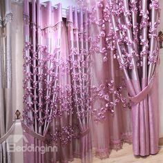 Luxury Flowery Grommet Top Curtain  Sheer