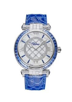 Chopard Imperiale Mother-of-Pearl Diamonds Dial Ladies Watch Amazing Watches, Chopard, Gold Work, Stylish Watches, Gold Hands, Pearl Diamond, Silver Coins, White Gold Diamonds, Blue Sapphire