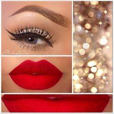 Sombra dorada con pigmentos, labios rojos.