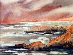 Grenland near Ilulussut Painting Process, Watercolor Techniques, Pictures To Paint, Watercolours, Art Tutorials, Places Ive Been, Vibrant Colors, Landscape, Artist