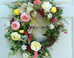 Summer Door Wreath-Spring Wreath-Farmhouse Decor-Rustic Foral Wreath-French Country Wreath-Elegant Garden Wreath-Cottage Chic Design
