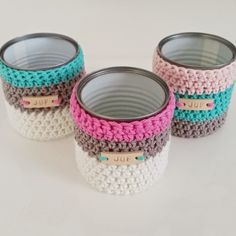Very Tidy Decorative Creations 😉 covers for re-purposed tin cans. Love this B-Joy AKA Misty quilts Crochet Cozy, Crochet Gifts, Cute Crochet, Crochet Decoration, Crochet Home Decor, Crochet Jar Covers, Crochet Kitchen, Crochet Accessories, Crochet Projects