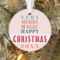 Modern big typography Christmas greetings family Ornament