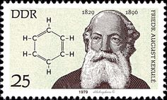 German Democratic Republic.  FAMOUS GERMANS.  FREIDRICH AUGUST SCHULE (1829-1896) & BENZENE RING. Scott 1997 A604, Issued 1978 July, Litho., Perf. 13 x 12 1/2,  25. /ldb.