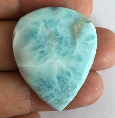 26.62 CT 100% NATURAL LARIMAR PEAR CABOCHON BLUE 33 X 27 MM LOOSE GEMSTONES  #RoundsnRoses