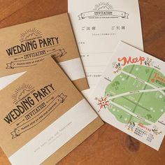 招待状も、式場地図、返信ハガキも全て手作りです #結婚式 #wedding #ペーパーアイテム #paperitem #招待状 #マップ #返信ハガキ…