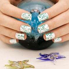 ArtPlus 24pcs Raindrops on Summer Lake Chrome False Nails with Glue Full Cover Medium Length Fake Nails Art *** Read more at the image link. (This is an affiliate link) #FalseNails