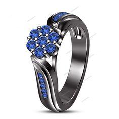 1.10CT Round 14k Black Finish Gold Blue Sapphire 925 Silver Women's Wedding Ring #aonjewels