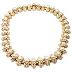 Bulgari Celtaura Pearl Diamond Gold Choker Necklace ($79,500) ❤ liked on Polyvore featuring jewelry, necklaces, multiple, pearl choker necklace, white pearl necklace, 18 karat gold necklace, 18k gold necklace and diamond choker