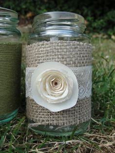 Candle jar decorated with Burlap, lace and doilie roses