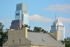 (L-R) Three Logan Square, Comcast Center, Mellon Building and One Liberty Place, standing behind Fairmount Water Works Restaurant.