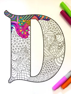 Letter D Zentangle Inspired by the font Deutsch por DJPenscript