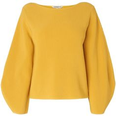 L.K. Bennett Calla Widesleeve Jumper ($165) ❤ liked on Polyvore featuring tops, sweaters, women, yellow, bateau neckline tops, jumpers sweaters, slash neck top, yellow jumper and yellow sweater