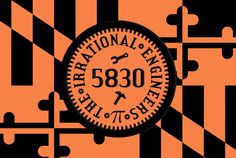 Team 5830 Flag - This has our branding color of f88147 and our round logo incorporating the Pi sign and then the Maryland state flag fleurs de lits pattern in the background #Team5830 #IrrationalEngineers #GotPi #omgrobots