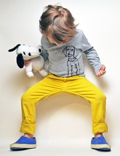 yellow pants with blue shoes & dog tee