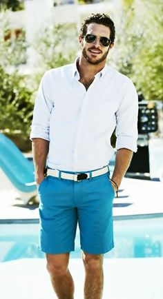 Shop this look for $46:  http://lookastic.com/men/looks/white-longsleeve-shirt-and-white-canvas-belt-and-aquamarine-shorts/2643  — White Longsleeve Shirt  — White Canvas Belt  — Aquamarine Shorts