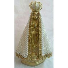 Nossa Senhora Aparecida dourada com manto em pérola, 25 cm. Santa Baby, Diy And Crafts, Victorian, Drop Earrings, Jewelry, Dresses, Plaster Crafts, Vestidos, Saints