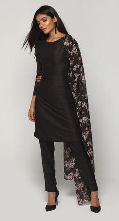 Black Printed Trouser Suit