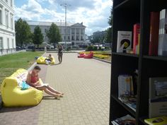This free outdoor library in Yekaterinburg, Russia opens in the city center every summer. Those comfy-looking sack-chairs are a seriously good idea.