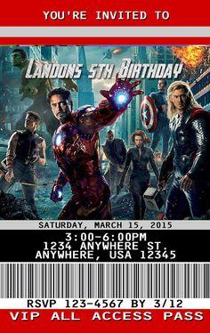 The Avengers Invitation PLASTIC The Avengers, The Avengers Invitation, Birthday Invitation, Birthday