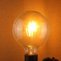 G125 4W E27 Edison Filament Warm White Globe COB LED Light Bulb 220-240V