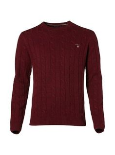 ee6f108b3fe Gant Men s Burgundy Lambswool cable crew jumper Mens Jumpers