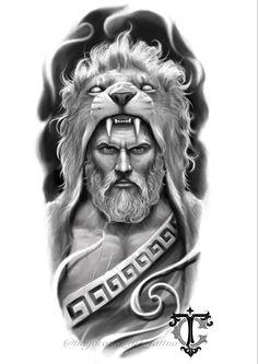 Tatouage Hercules, Hercules Tattoo, Zeus Tattoo, God Tattoos, Cool Arm Tattoos, Chicano Tattoos Sleeve, Lion Tattoo Design, Tattoo Design Drawings, Angel Tattoo Designs