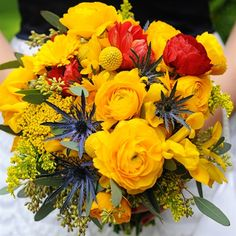 Red, Yellow and Blue Bridal Bouquet