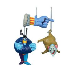 """3 piece ornament set of Chief Blue Meanie Flying Glove and Jeremy from the 1969 animated movie 'Yellow Submarine'. Each ornament measures between 3.75"""" and 4.5"""""""