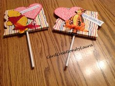 Large Heart Sucker Valentines with Pooh and Tigger from Cricut- CardCreationsbyLaura