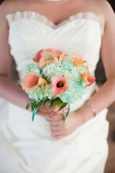 Aqua Hydrangeas and Coral Calla Lilies - From Pastels to Vibrant Hues: 15 Most Beautiful Calla Lily Wedding Bouquets - EverAfterGuide