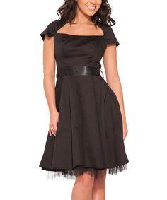 Another great find on #zulily! Black Taffeta A-Line Dress - Women #zulilyfinds