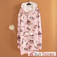 Autumn New Style Women's Fashion Fleecing Bears Pattern Hoodie