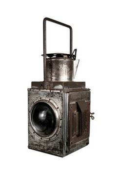Antique Liquid Fuel Sherwoods Railroad Lantern with Red Filter