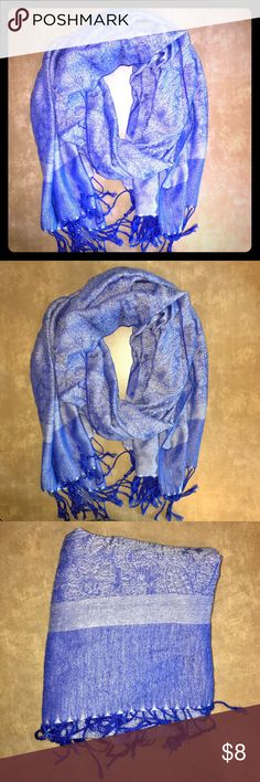 Blue Paisley Pashmina Blue pashmina with white paisley detain. Good used condition. Some minor snags/holes, but they aren't visible when worn. Perfect for spring! unknown Accessories Scarves & Wraps