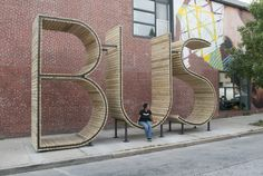 BUS Stop in Baltimore – I'm not sure whether to put this under signage or architecture.its a little bit of both! Architecture Design, Landscape Architecture, Baltimore Usa, Bus Stop Design, Cute Love Pictures, Funny Pictures, Bus Shelters, Environmental Graphic Design, Indian Pictures