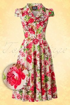 Hearts and Roses Floral Creme 50s Swing Dress 102 57 15194 20150702 0011W1