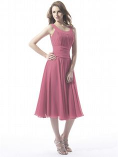 Glamorous A-line Scoop Neckline Sleeveless Tea-length Cocktail Dresses