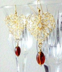 Crocheted wire heart shaped earrings