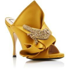 No. 21     Satin Knot Mule featuring polyvore, women's fashion, shoes, heels, yellow, decorating shoes, yellow satin shoes, satin shoes, satin mules and embellished shoes