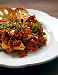 Kimchi fried wild rice with tofu and lotus root