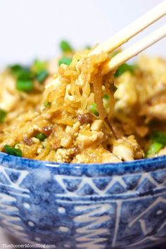 This guilt-free Spaghetti Squash Pad Thai recipe that tastes so amazing, you'd almost swear it's the real thing! Guilt-Free Spaghetti Squash Pad Thai Pad Thai might just be my favorite dish on the entire planet. In fact, Thai Recipes, Asian Recipes, Vegetarian Recipes, Chicken Recipes, Cooking Recipes, Healthy Recipes, Chinese Recipes, Easy Cooking, Sauce Recipes