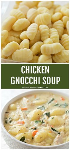 Chicken Gnocchi Soup – Life Made Simple Thick, creamy and oh so cozy. A big bowl of this delicious chicken gnocchi soup is the perfect way to warm up on a chilly day! Soup Recipes, Dinner Recipes, Cooking Recipes, Healthy Recipes, Tortellini Recipes, Delicious Recipes, Salad Recipes, Dinner Ideas, Gourmet
